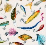 Top Rod - Tossed Fishing Lures on Cream