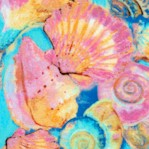 Fabulous Flamingos - Seashells on Turquoise by Ro Gregg
