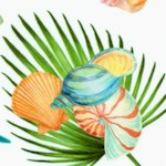 Island Sun - Tossed Seashells and Palm Leaves on Ivory (Digital)
