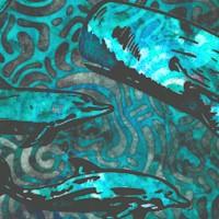 Aquatica - Beautiful Whales on Batik Texture by Dan Morris