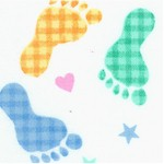 Comfy Flannel - Tossed Colorful Footprints on FLANNEL