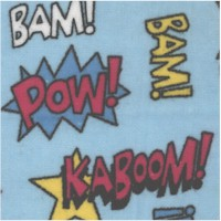 Kaboom! Tossed Comic Book Phrases on Blue FLANNEL