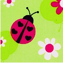 Ladybugs on Green FLANNEL