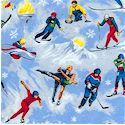 Winter Sports - Tossed Olympic Athletes on Blue FLANNEL by Laurie Godin