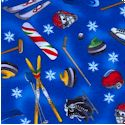 Winter Sports - Tossed Olympic Equipment on Blue FLANNEL by Laurie Godin (FLA-olympics-F457)