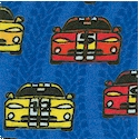 Racecars - Colorful Cars on Blue Racetrack FLANNEL