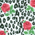 Comfy Flannel - Leopard Spots and Roses on FLANNEL