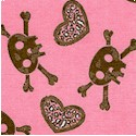 Hearts and Skulls in Chocolate Brown on Pink FLANNEL