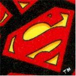 Tossed Superman Logos on Black FLANNEL