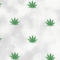Blend - Small Scale Cannabis Leaves on Mottled White by Whistler Studios