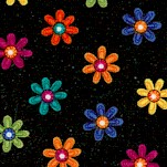 Brush Dance - Small Scale Retro Daisies on Black
