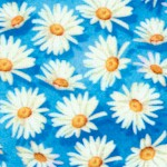 Vibrant Garden - Small Scale Daisies on Blue
