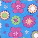 Lucky Ladybugs - Allover Flower Burst on Blue FLANNEL