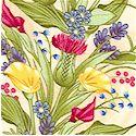Whispering Glen - Beautiful Flowers on Cream