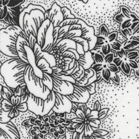 Black and White Floral Toile