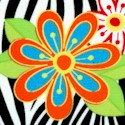 Flower Power - Bright Flowers Over Zebra Stripe