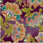 Taj Mahal Style - Gilded Floral on Plum Background