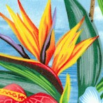 Tropical Flowers and Palm Trees (FLO-floral-X263)