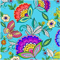 Dazzling Garden Single Border Floral on Turquoise