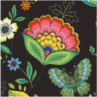 Dazzling Garden Single Border Floral on Black