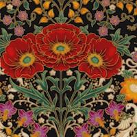 Florentine Garden - Gilded Flowers and Birds on Black