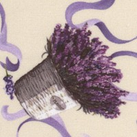 Lavender Sachet - Tossed Bouquets and Ribbon on Cream