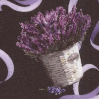 Lavender Sachet - Tossed Bouquets and Ribbon on Black