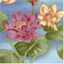 Les Jardins - Elegant Gilded Waterlillies on Blue - SALE! (MINIMUM PURCHASE 1 YARD)