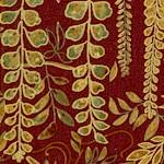 Mikado - Gilded Foliage and Birds on Burgundy by Deborah Edwards