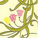 Nouveau - Delicate Tossed Flowers on Daffodil Yellow