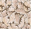 Morris Mania - Classic Acanthus Leaves in Taupe  SALE! (MINIMUM PURCHASE ONE YARD)