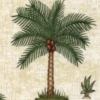 Caravan - Tropical Palm Trees on Beige Texture by Dan Morris