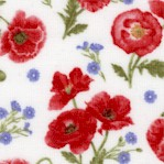 Poppy Meadows - Tossed Small Scale Poppies on Ivory