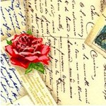 French Post - Tossed Vintage Postcards and Roses