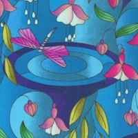 Reflections - Stained Glass Style Flowers and Dragonflies #2