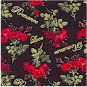 Romancing the Rose - Gilded Loving Phrases and Mini Rose Bouquets on Black by Ro Gregg