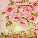 Rose Garden Tea for Two on Pink by Ro Gregg - LTD. YARDAGE AVAILABLE IN 4 PIECES