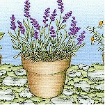 Thyme with Friends - Potted Herbs and Lavender Vertical Stripe