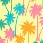 Aloha - Tossed Palm Trees on Yellow