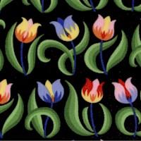 Spring Fever - Mini Tulips on Black by Jane Sassaman