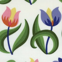 Spring Fever - Rows of Tulips on Ivory by Jane Sassaman