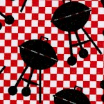 Grill On - Tossed Barbeque Grills on Red Check