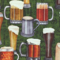 On Tap - Beer in Mugs and Glasses on Green by Dan Morris