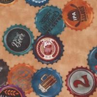 On Tap - Tossed Beer Bottle Caps on Beige by Dan Morris