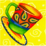 Spill the Beans - Tossed Coffee Cups on Yellow by Barb Tourtillotte