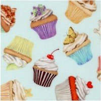 Sweet Tooth - Tossed Small-Scale Cupcakes on Mint