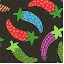 Fiesta - Colorful Chilipeppers on Black by Carol Edridge