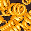Tossed Curly French Fries on Black
