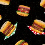 Tossed Small Scale Hamburgers on Black