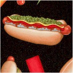 Top Nosh - Tossed Hot Dogs on Black by Dan Morris